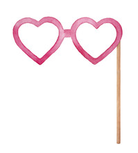 Heart Shaped Eye Glasses On Wooden Stick, Photo Booth Props Illustration. Pink Color, Flirty, Funny, Cute. Hand Drawn Watercolour Graphic Drawing On White Background, One Single Cutout Clip Art Item.