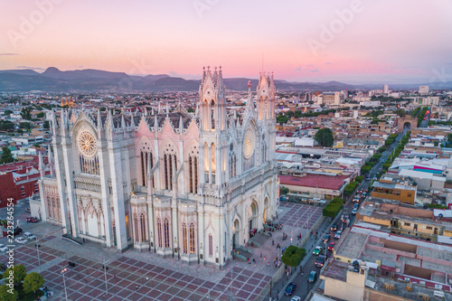 Beautiful aerial view of the Expiatory Temple of Leon in Guanajuato, Mexico