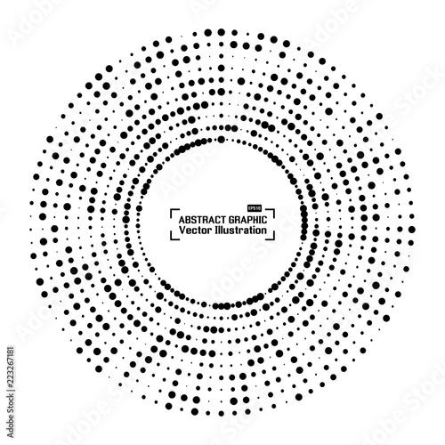 Obraz Abstract halftone circle frame with black random dots. Round border. Vector illustration - fototapety do salonu