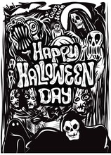 Hand Drawn Halloween Poster , Card , Background.  Vector Illustrations.
