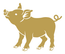 Flat Symbolic Pig - Golden Color, Side View