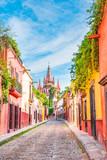 Fototapeta Uliczki - Beautiful streets and colorful facades of San Miguel de Allende in Guanajuato, Mexico