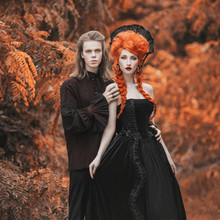 Gothic Couple In Halloween Cos...