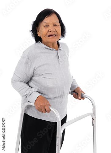 Photo  senior woman using walker isolated on white background