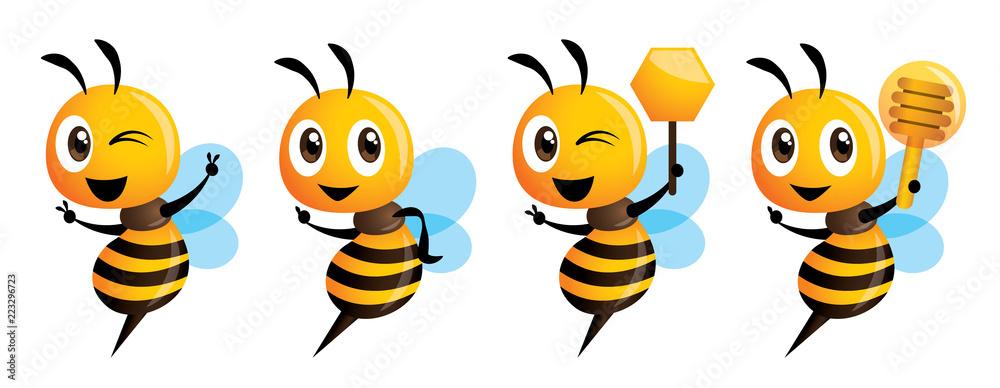 Fototapeta Cartoon cute bee mascot series. Cartoon cute bee pointing. vector illustration isolated