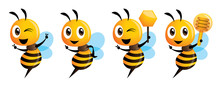 Cartoon Cute Bee Mascot Series...