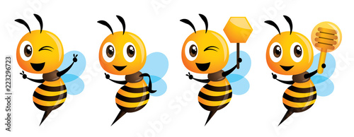 Photo Cartoon cute bee mascot series