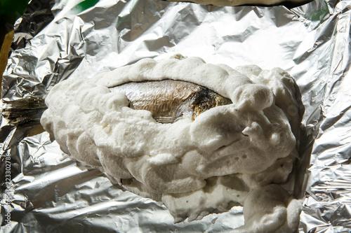 Fotografie, Obraz  dorado covered with whipped egg whites