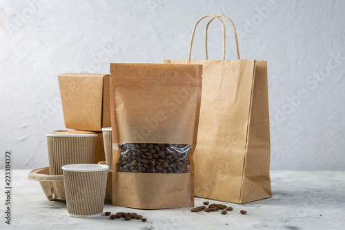 Food and drink craft packaging set on kitchen background, copy space