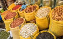 Seeds And Nuts In Canvas Bags At The Traditional Souk Market In The Old Town Or Medina Of Fes Morocco