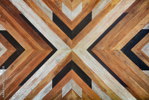 Fototapeta seamless yellow, black, white and dark brown color lumber in arrows or chevron pattern to the center for texture background. top view obraz na płótnie