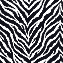 Seamless Pattern With Zebra Fur Print. Vector Illustration. Exotic Wild Animalistic Texture.
