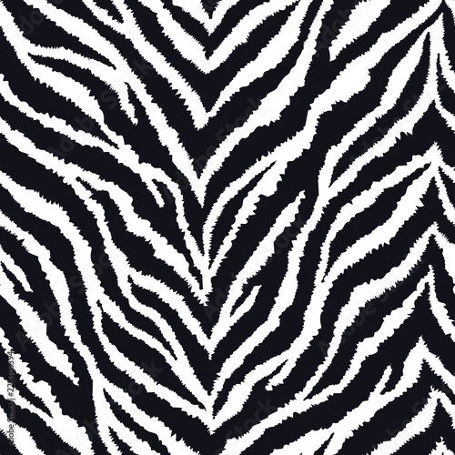 Seamless pattern with zebra fur print. Vector illustration. Exotic wild animalistic texture.  - 223308394