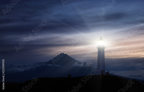 Foto auf AluDibond Leuchtturm Cape Egmont Lighthouse, New Zealand