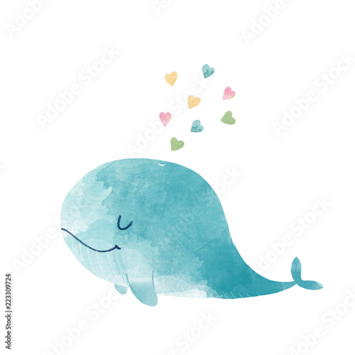 Fototapeta Watercolor whale illustration