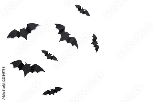halloween and decoration concept - paper bats flying Canvas Print