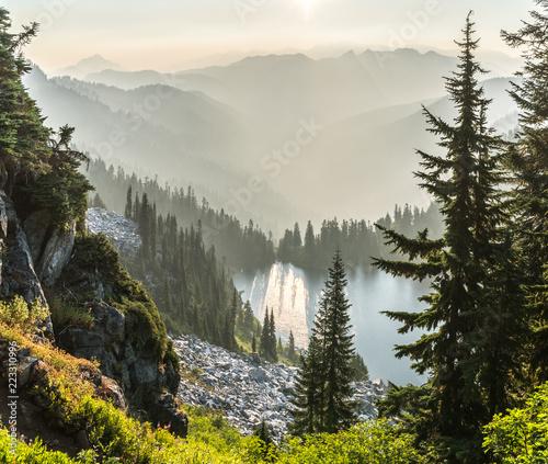 Photo  Wildfire smoke fills the air near Devil's Stairway and Hopkins Lake, Washington