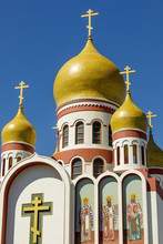 Exterior Of The Holy Virgin Cathedral. View Of The Newly Restored Onion Domes Of The Russian Orthodox Cathedral In The Richmond District Of San Francisco.
