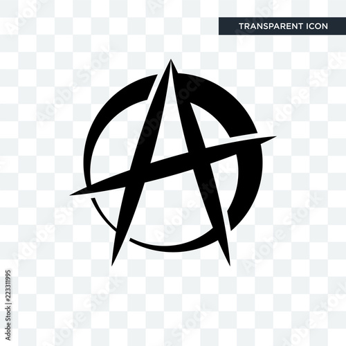 anarchist vector icon isolated on transparent background, anarchist logo design Canvas Print