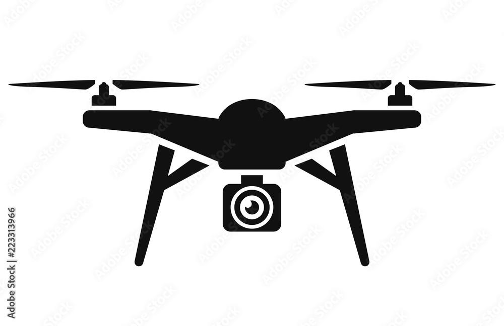 Fototapety, obrazy: Vector drone icon black design
