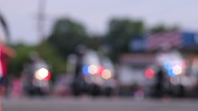 Out Of Focus Police Motorcycle Brigade Moving Parade