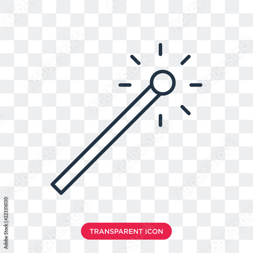 Fotografie, Obraz  Magic wand vector icon isolated on transparent background, Magic wand logo desig