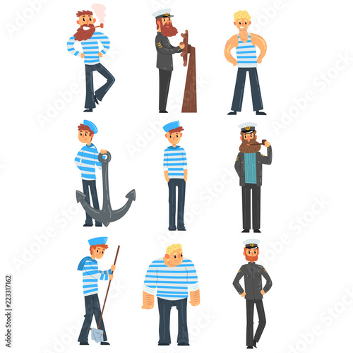 Foto Sailors and captains doing their job, seamen characters in uniform vector Illust