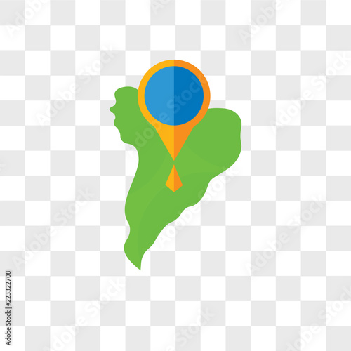 Fotografía  South america vector icon isolated on transparent background, South america logo