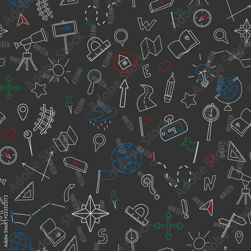 Fotografia  Seamless pattern with hand drawn signs on the theme of geography and travel, col