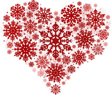 Heart Shape From Red Snowflake...