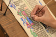 Leinwanddruck Bild - Close-up of hand of medieval manuscript scribe - calligraphy