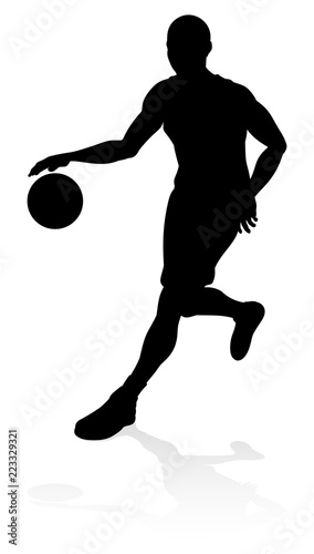 Photo  A basketball sports player silhouette illustration