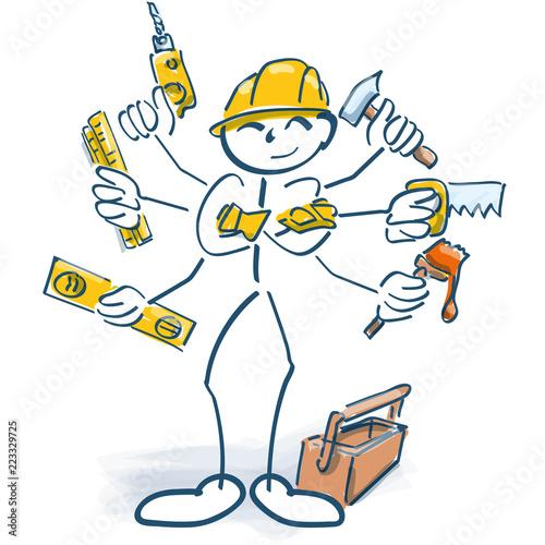 Photo Strichmännchen als Handwerker und Multitasking