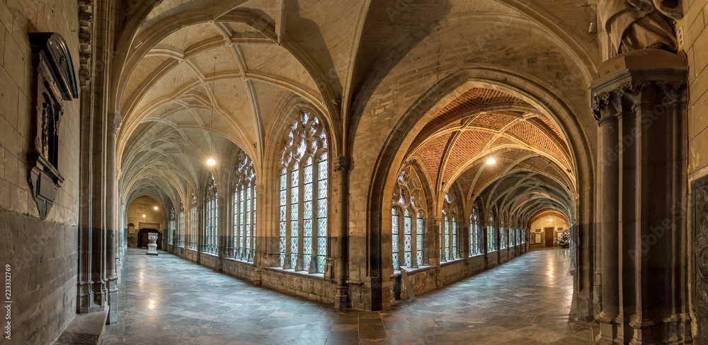 Fototapety, obrazy: Beautiful view of the interior of the St. Paul's cathedral cloister in Liege, Belgium