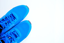 Blue Running Shoes For Men On A White Background