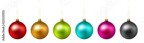 Fotomural Set of color Christmas ball on white background. Vector .