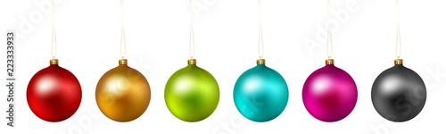 Obraz Set of color Christmas ball on white background. Vector . - fototapety do salonu