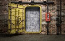 Armored Heavy Metal Door In Old Underground Bunker Room. 3d Rendering