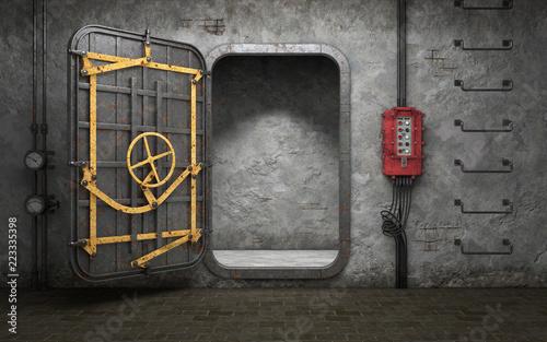 Armored heavy metal door in old underground bunker room Fototapeta