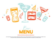 Cocktail Party Horizontal Banner. Vector Design With Glasses, Shakers, Lemon. Colorful Alcohol Doodle Engraving Hand Drawn Illustration On White Background.
