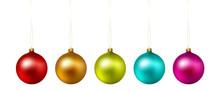 Set Of Color Christmas Ball On...