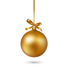 Gold Christmas Ball With Ribbon And Bow On White Background. Vector Illustration.