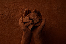 Cropped Shot Of Person Holding Chocolate Pieces And Cocoa Powder