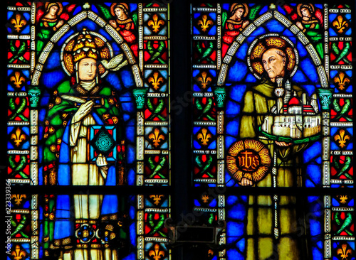 In de dag Stained Catholic Saints - Stained Glass in Santa Croce, Italy