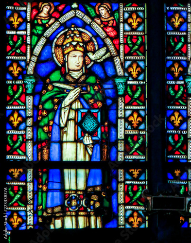 In de dag Stained Pope Saint Gregory the Great - Stained Glass in Santa Croce, Italy