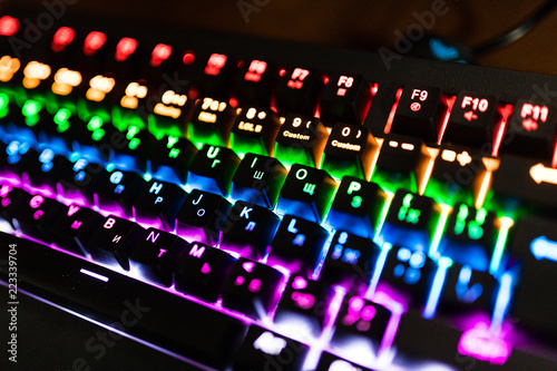 Photo  Closeup of keyboard illumination Multicolour Rainbow colors for play Games Online