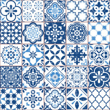 Vector Azulejo Tile Pattern, Portuguese Or Spanish Retro Old Tiles Mosaic, Mediterranean Seamless Navy Blue Design