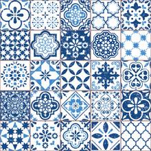 Vector Azulejo Tile Pattern, Portuguese Or Spanish Retro Old Tiles Mosaic, Mediterranean Seamless Navy Blue Design