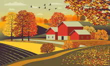 Rural Autumn Landscape With Farm, Fields And Trees In The Background