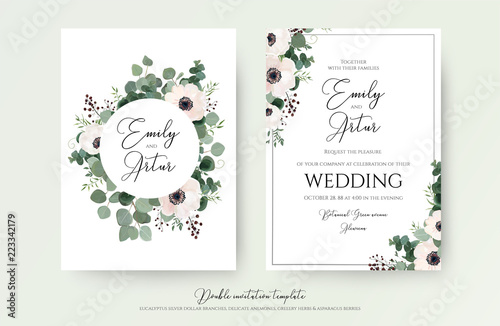 Valokuvatapetti Wedding Invitation, floral invite modern card Design: light pink anemone flower, green eucalyptus greenery branches, thyme leaves & berries wreath & frame pattern